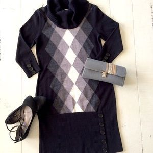 Black, Gray, White Argyle Sweater Dress